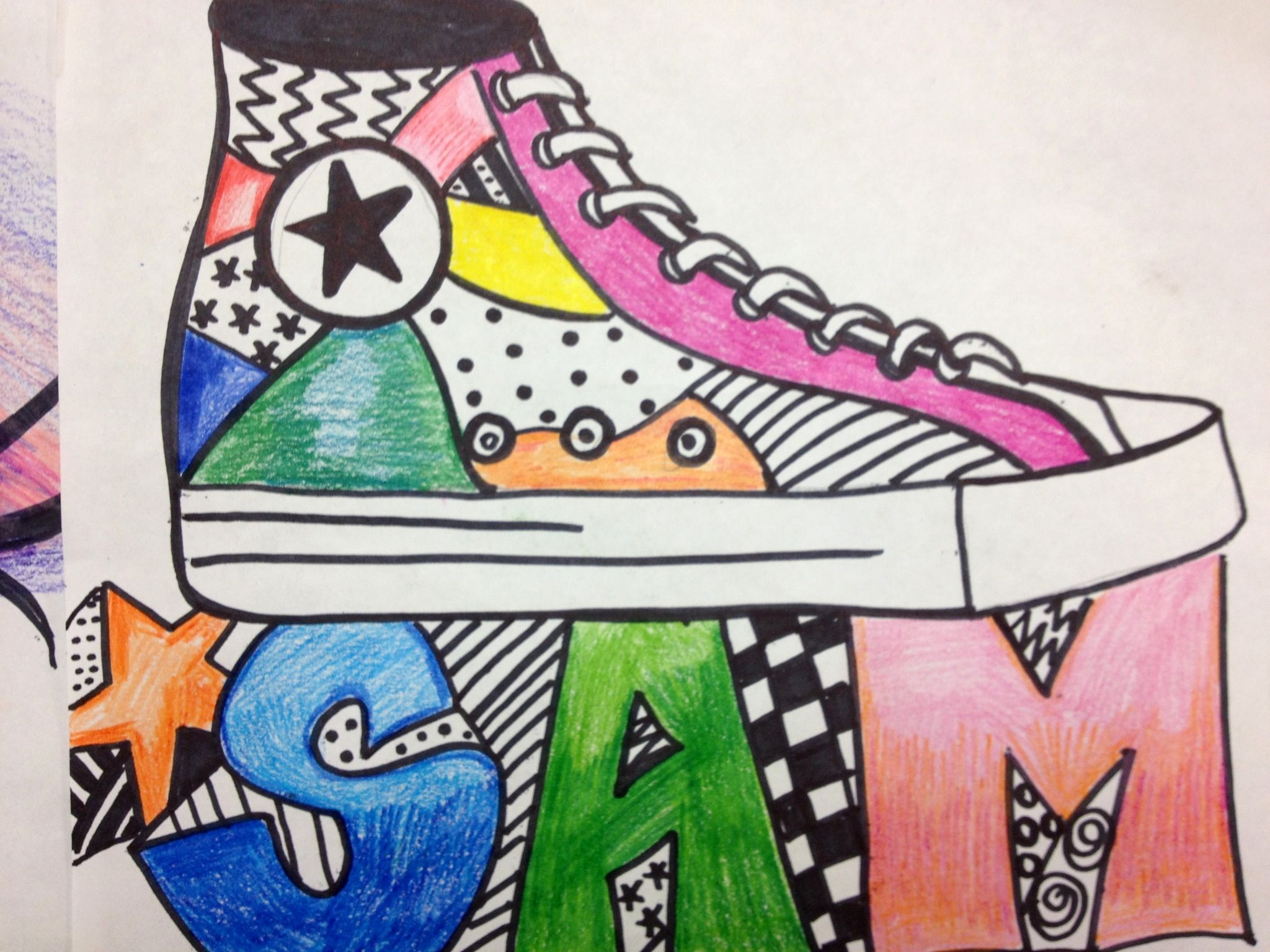 I Drew This Using Sharpies And Color Pencils To Teach Line