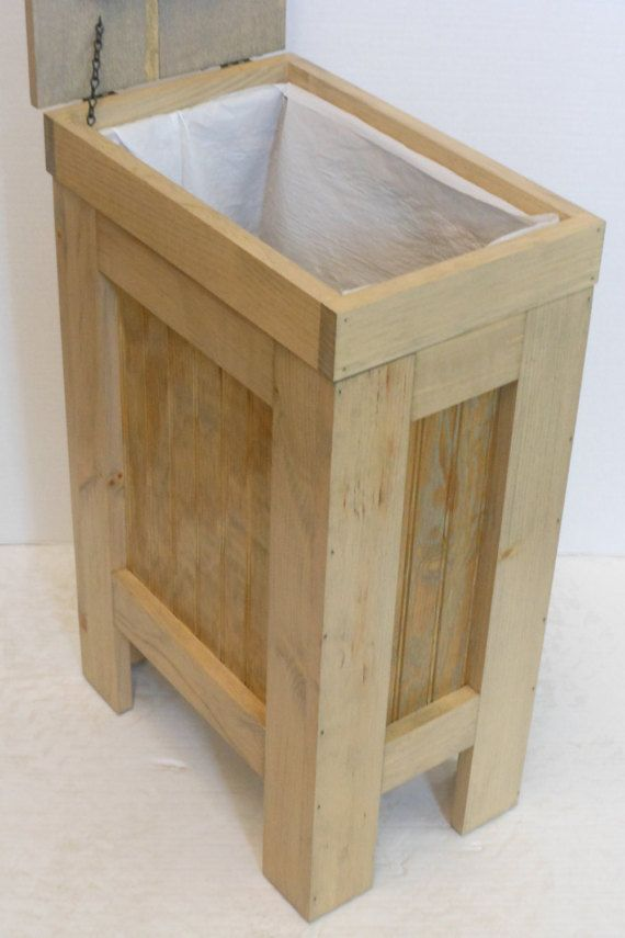 Kitchen Garbage Can Wooden Trash Can Garbage Bin Dog Food Storage 13 Gallon Trash Can Weathered Oak Stain Wood Trash Can Wooden Trash Can Kitchen Garbage Can Storage