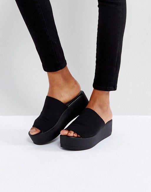 5276e73746c Steve Madden Slinky black chunky flatform sandals in 2019 | Wish ...