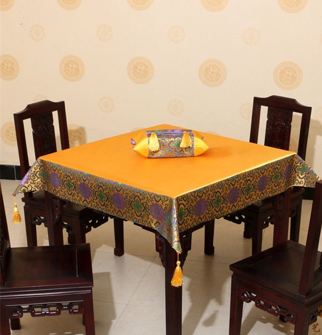 Luxury Plain Patchwork Table Cloth Tassel High End Chinese style
