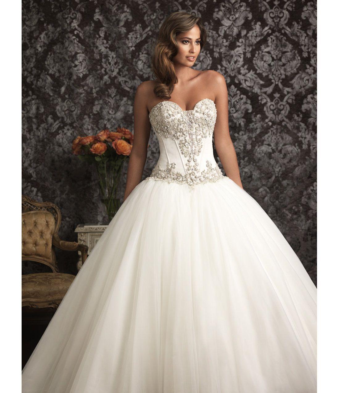 White puffy wedding dresses   Allure Bridal  White u Silver Satin u Organza Chapel Train