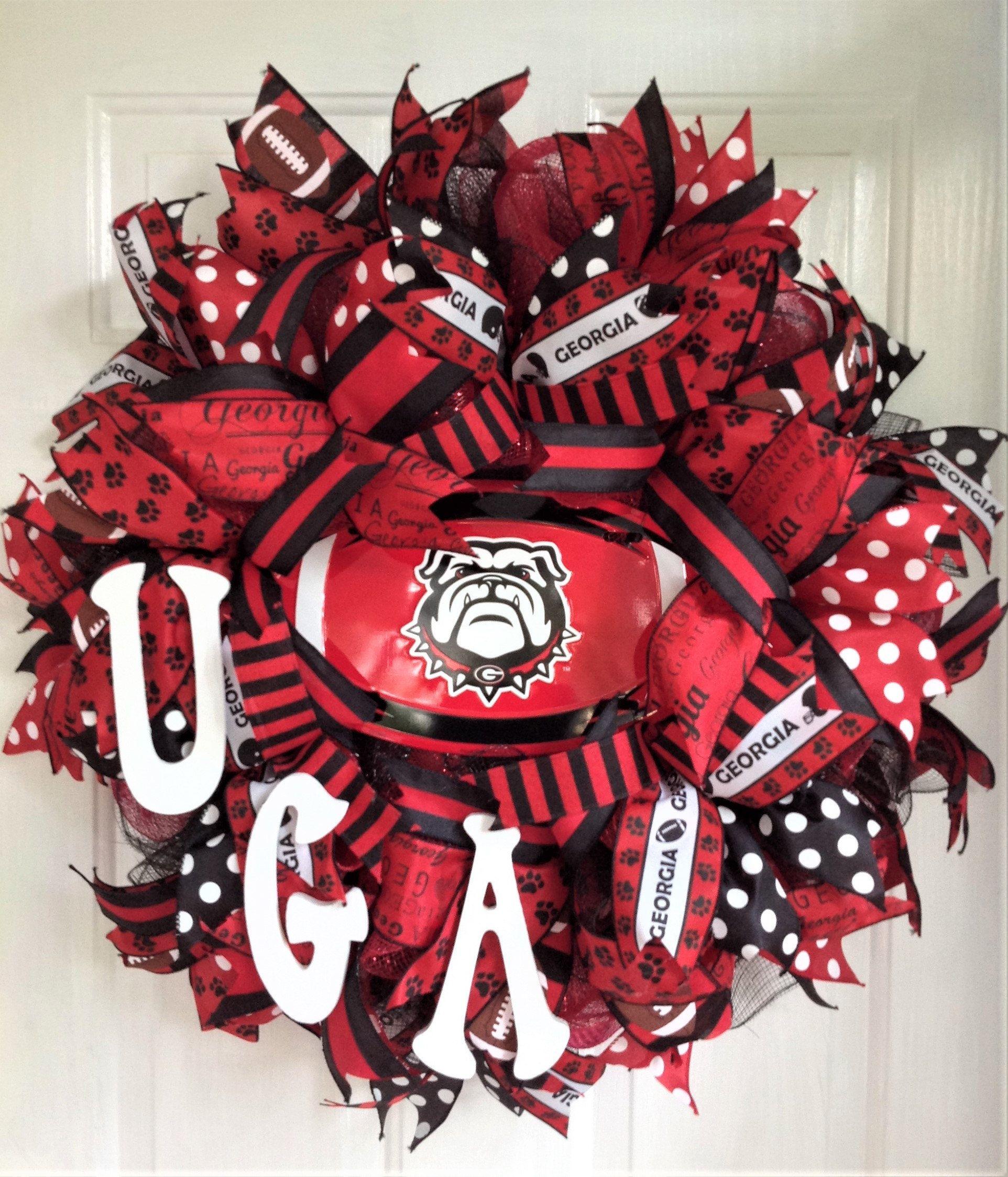 Georgia Bulldogs Wreath Georgia Football Decor,UGA Door Hanger,Georgia Wreath Football Wreath University of Georgia Door Wreath