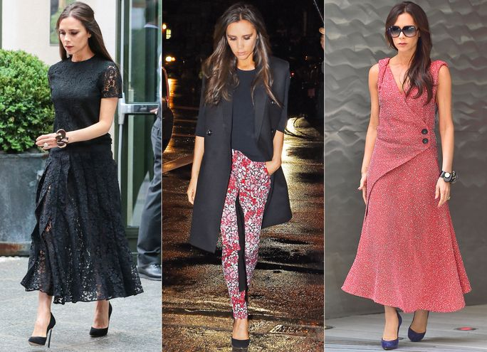 Get all the details on Victoria Beckham's trio of stylish ensembles.