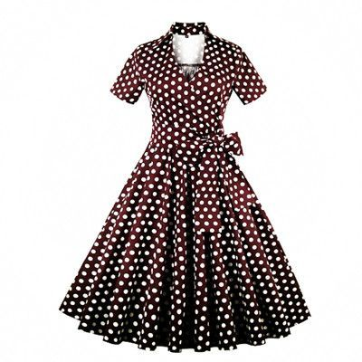3028b3ec77b92 ZAFUL Plus Size S-4XL Women Retro Dress 50s 60s Vintage Rockabilly Swing  feminino vestidos V neck short sleeves Dot print dress