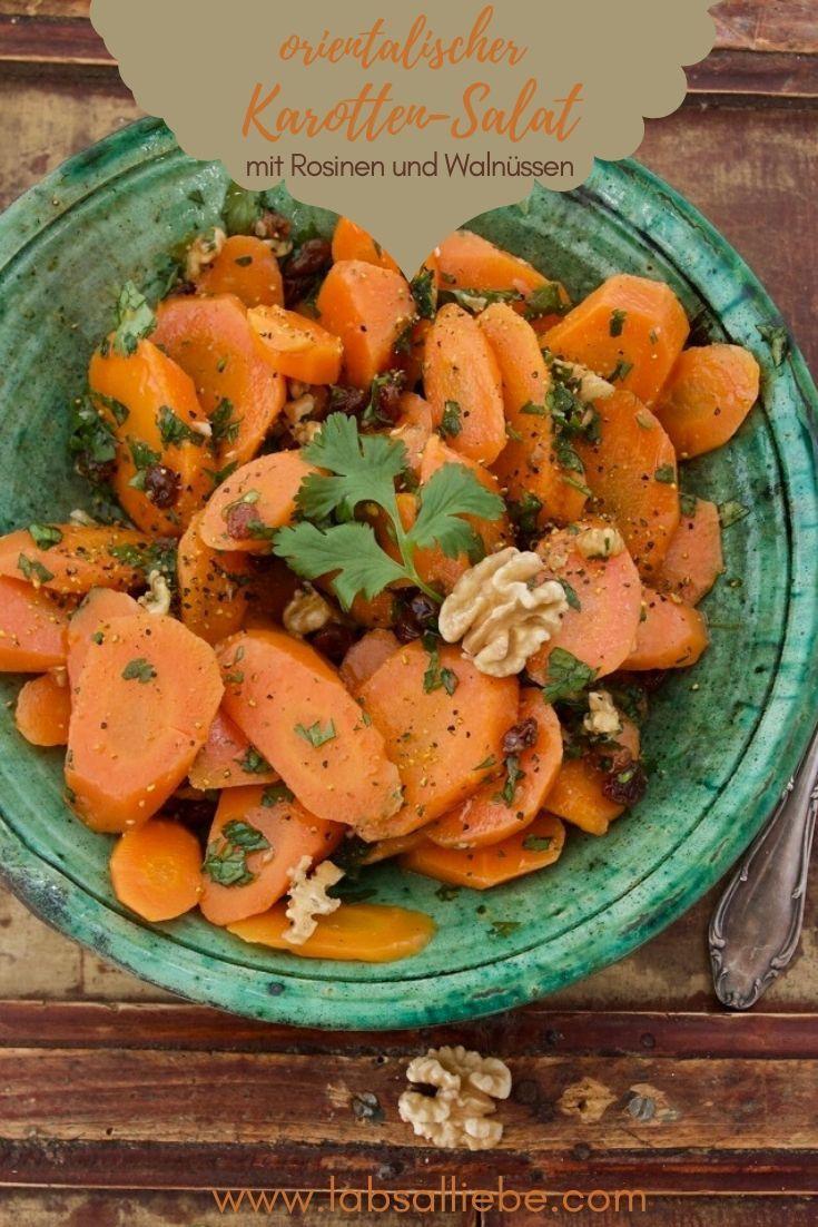Photo of Orientalischer Karotten-Salat mit Rosinen und Walnüssen – Labsalliebe