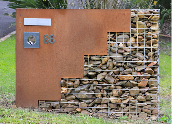 i love this gabion idea as an entry to a large home or neighborhood this river bronjong. Black Bedroom Furniture Sets. Home Design Ideas
