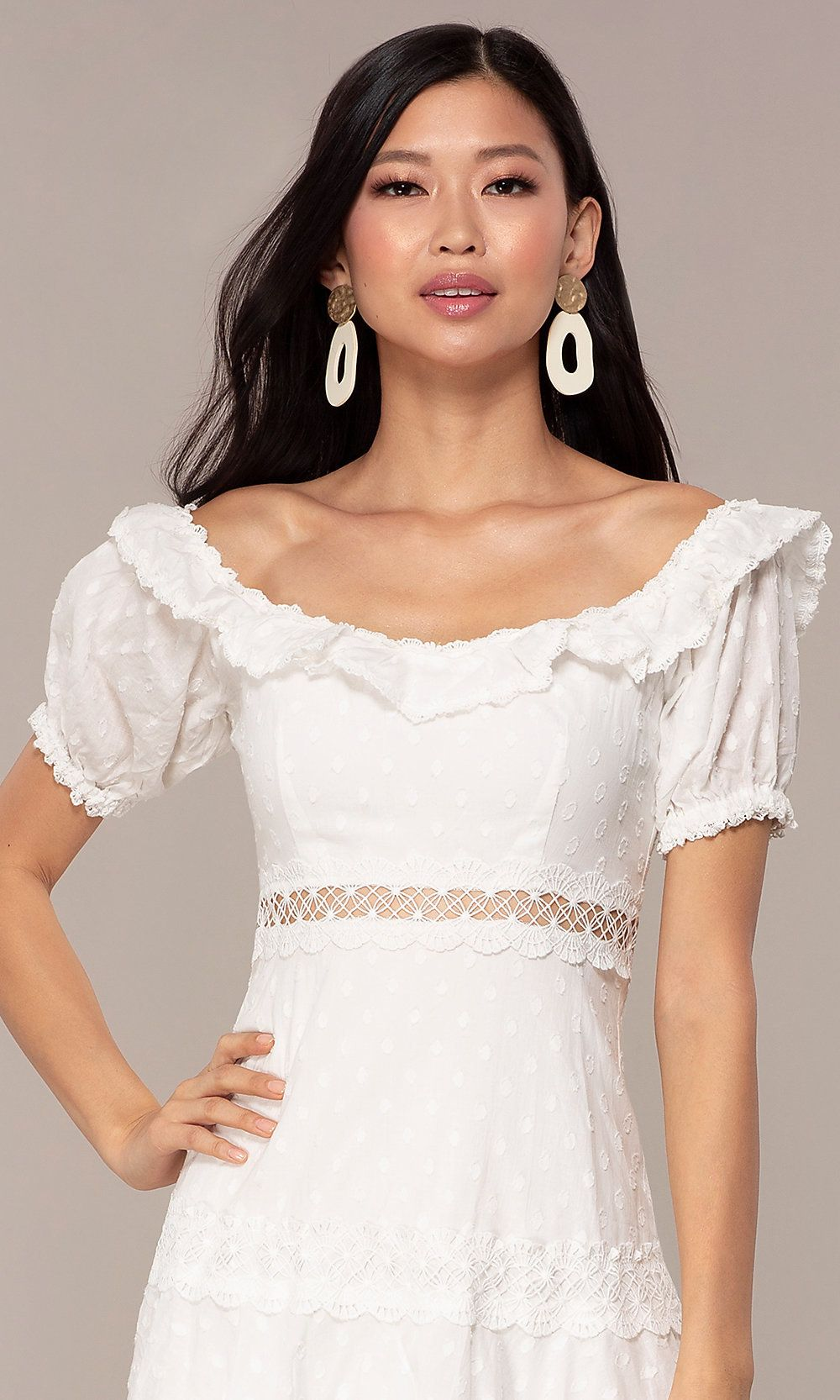 dcf89b508e2 White Short Off-the-Shoulder Grad Party Dress in 2019