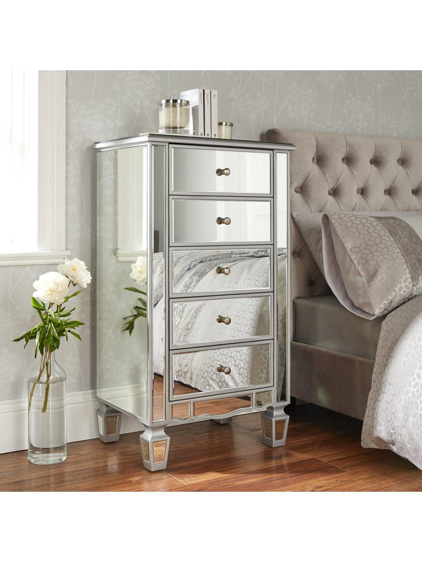 Ideal Home Mirage Mirrored Chest Of 5 Drawers In Silver Treat Your