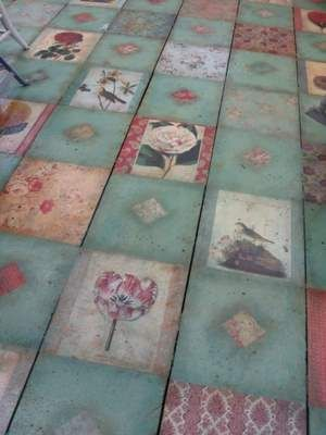 This is a decoupaged floor love this idea. Not the same