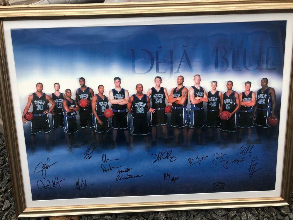 2001 2002 NCAA Championship Duke Basketball Team Signed And Framed Poster EBay Link