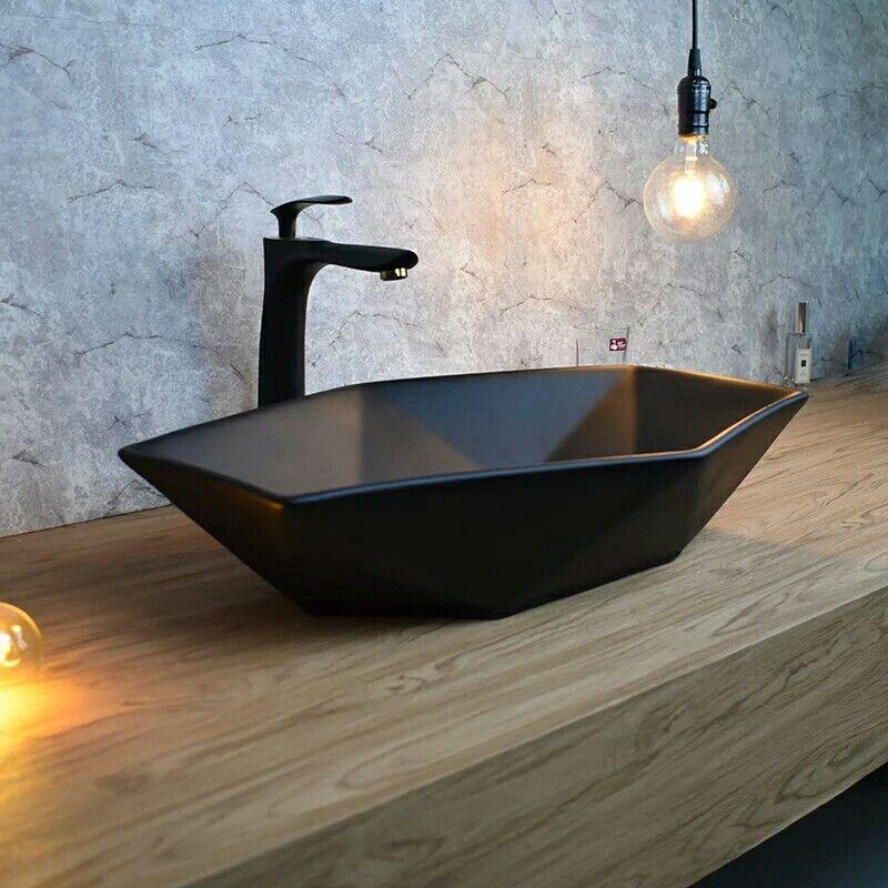 Black Geometric Bathroom Countertop Sink Basin Sink Countertop