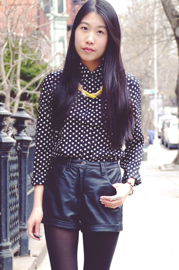 f6401b48ff Kats L♥ve Fashion wearing our Basic Polka Dot blouse and Yellow + Gold  Twist necklace.