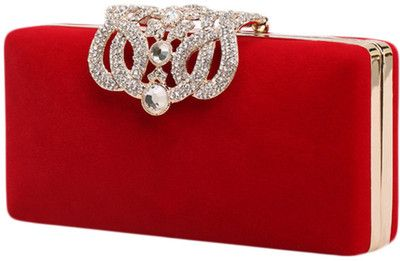 Blackfive Crystal Detailed Velour Box Clutch Bag – $35