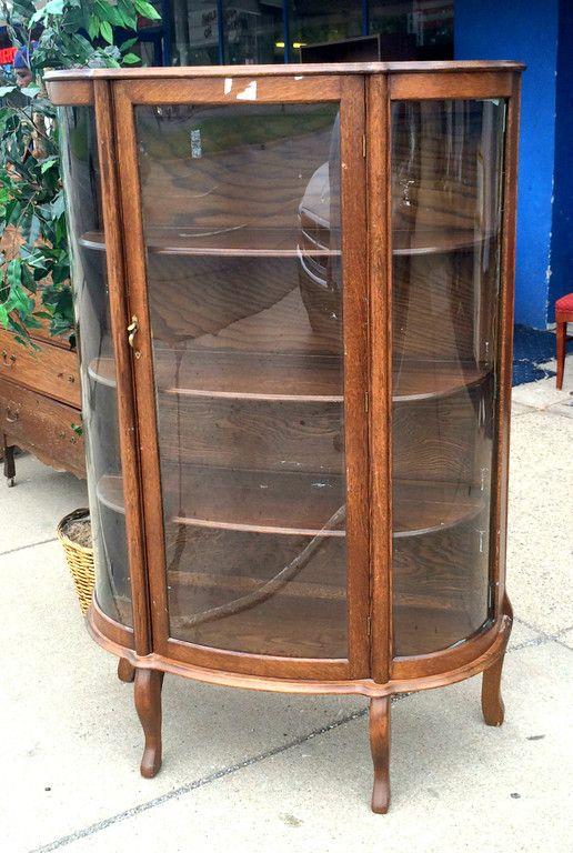 Rare Vintage Tiger Oak Curved Glass Display Cabinet In