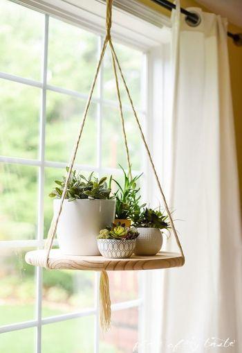 これは木製の円盆に植物を並べ ロープで天井から吊り下げるという
