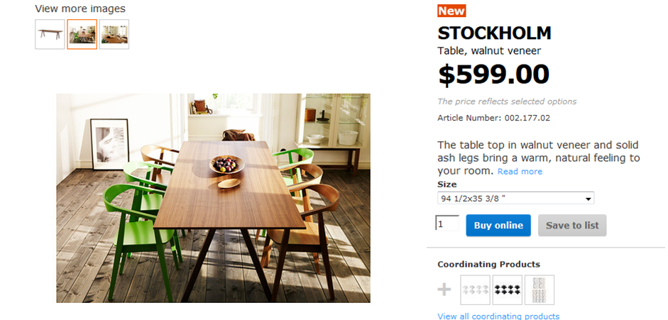 ikea Stockholm walnut dining table Martelli Design furniture