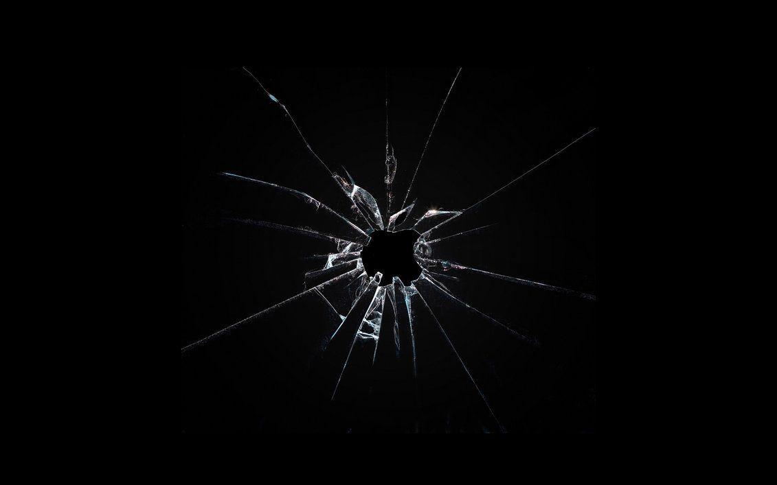 Apple Broken Glass Wallpaper By Leconte On Deviantart Broken Screen Wallpaper Broken Glass Wallpaper Dark Wallpaper