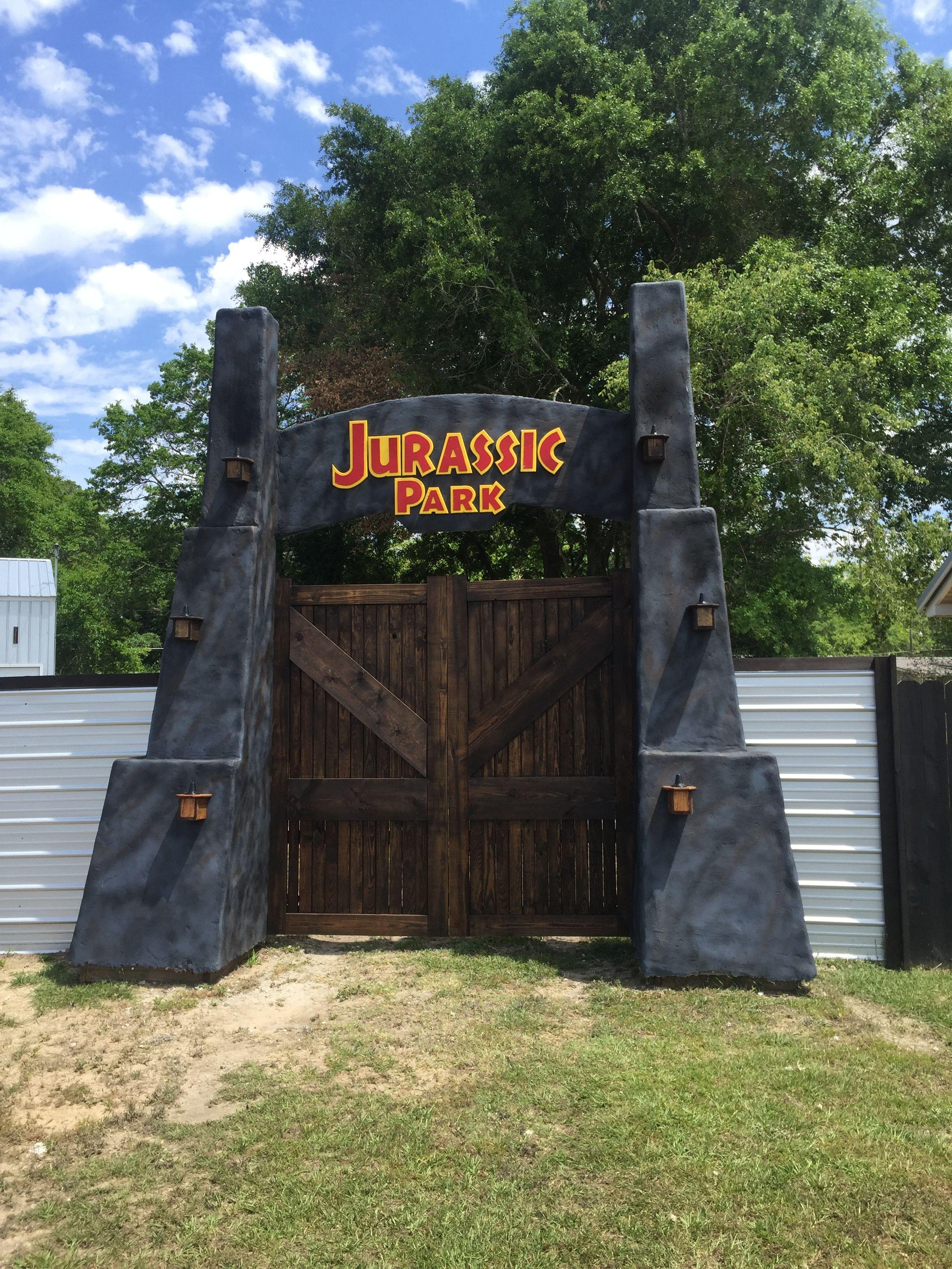 Homemade jurassic park gate made by Joshua Perez  Jurassic park