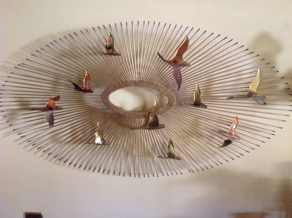 Mid-Century Jere Era Sunburst Birds N Flight Copper Brass Wall Hanging  Sculpture