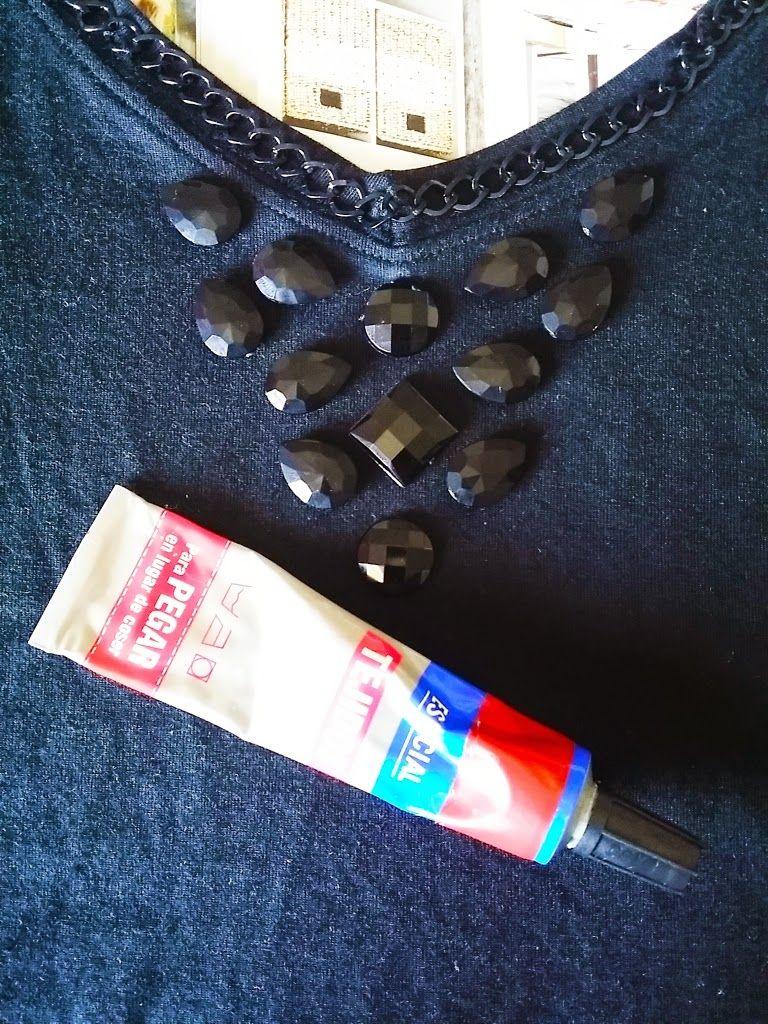 72577f2d819b TACHUELAS DIY   CO  DIY Camiseta joya  Customizar con cadenas y abalorios  en forma de collar (Parte 6)