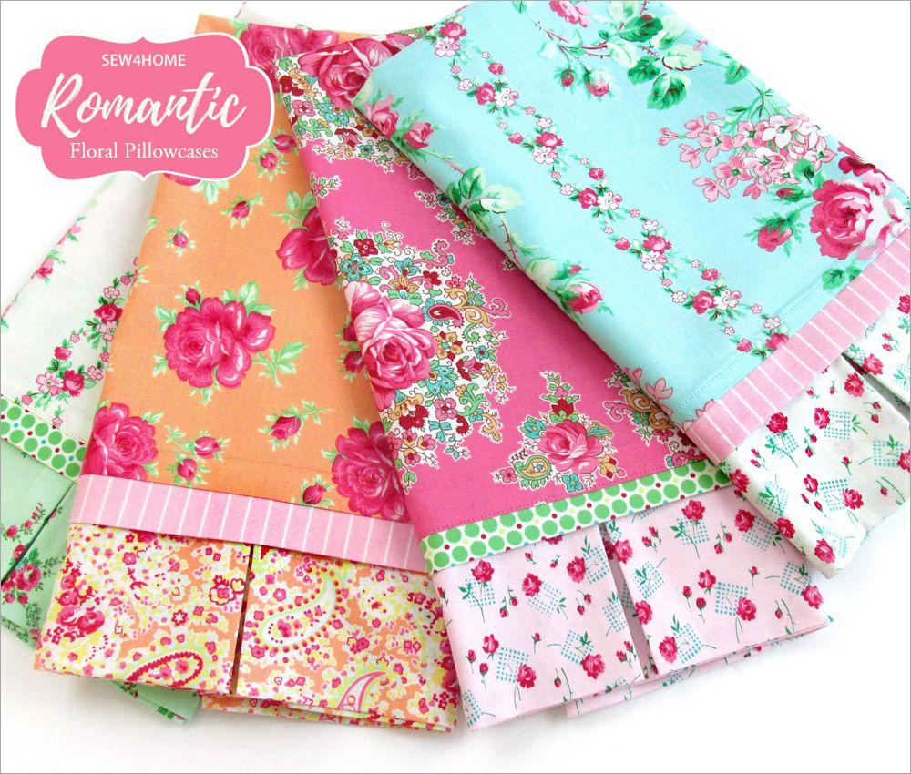 Romantic Floral Pillowcase With Decorative Cuff Com Imagens Patchwork Quilt Artesanato E Faça Você Mesmo Fronhas