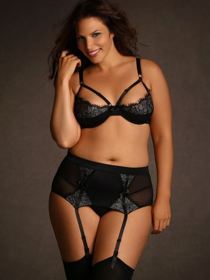 plus size eyelash lace garter belt, black | plus sized lingerie