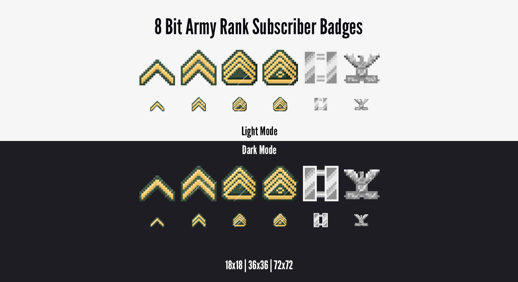 8 Bit Army Rank Subscriber Badges for Twitch! Up your stream quality with these pixel-based subscriber badges by LD Designs.    #twitchaffiliate #twitchsubbadges #twitchemotes #twitchpanels #twitchoverlay #pixelart #8bit  #army #ranks #emotes #twitchcreative #digitalart #pixelgram #pixel_ig #pixel_dailies #pixeleffect #minecraft