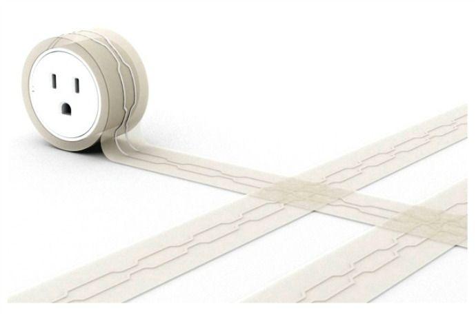 Smart tech concept: A flat extension cord that lies flat under rugs. Wow!