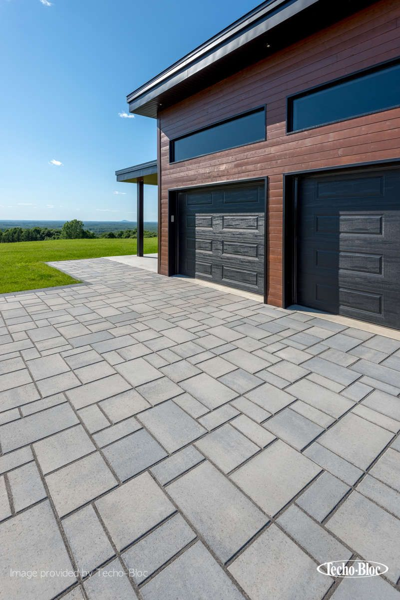 Garagenboden Gefälle Blu 60mm Smooth Shale Grey Paver Patio Patio Garage Doors
