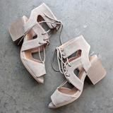 lace-up cutout heeled sandal - taupe - 8 / taupe