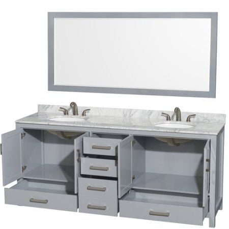 Incroyable Wyndham Collection Sheffield 80 Inch Double Bathroom Vanity In Gray, White  Carrera Marble Countertop,