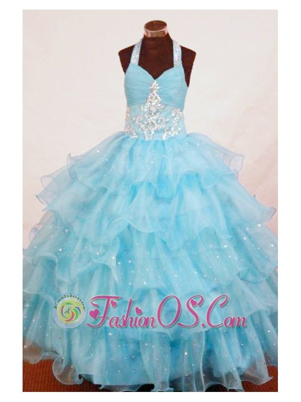 Halter Top Aqua Blue Organza Appliques Little Girl Pageant Dresses http://www.fashionos.com http://www.facebook.com/quinceaneradress.fashionos.us The top features a halter-top neckline completely encrusted by the shining crystals. The skirt accented by the multi tiered floral ruffles with shining beading throughout will sure be a head turner.