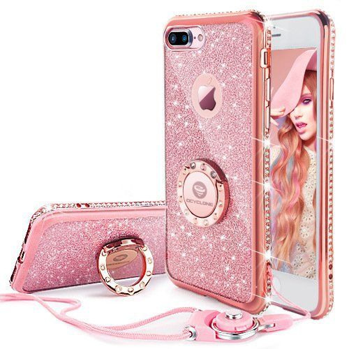 iphone 7 plus case iphone 8 plus case glitter cute phone case girlsiphone 7 plus case iphone 8 plus case glitter cute phone case girls with stand bling diamond bumper with ring kickstand clear thin soft pink iphone 7 plus