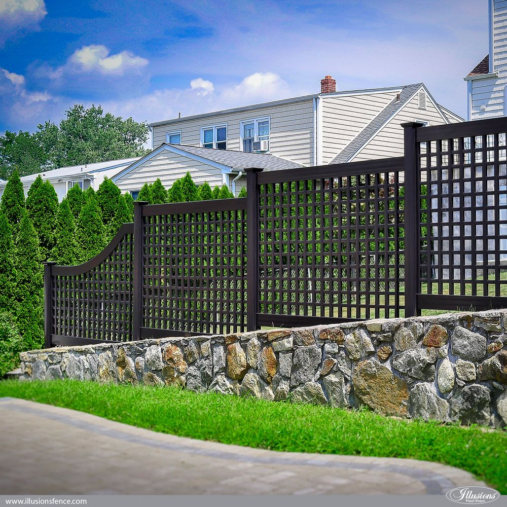Beautiful black pvc vinyl old english lattice fence from illusions looking for a great backyard fence idea how about black pvc vinyl old english lattice fence from illusions vinyl fence shown here is style with a to a baanklon Choice Image