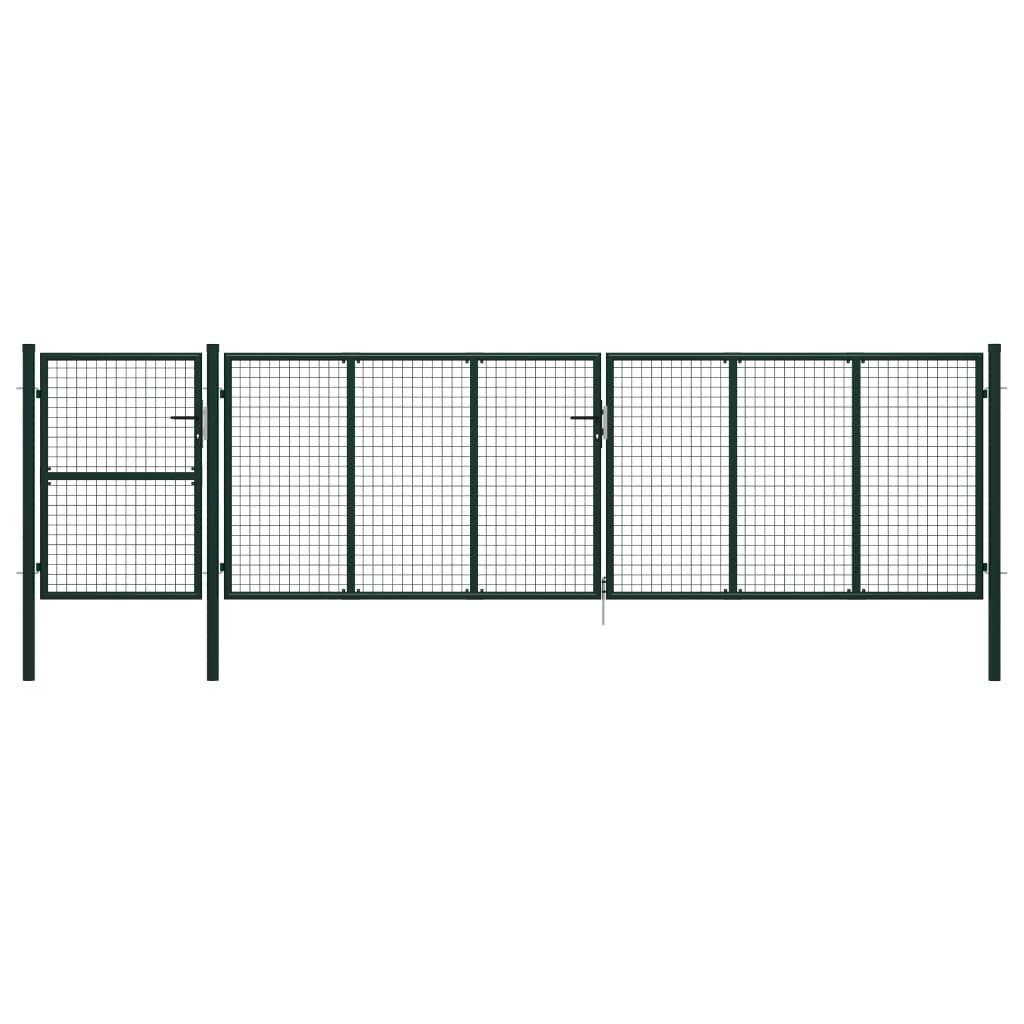 vidaXL Garden Fence Door Green 500 x 125 cm. Steel