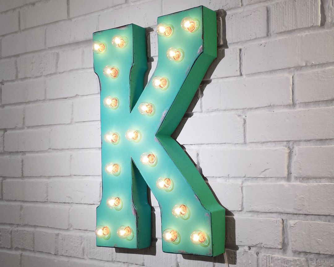 Letter K Rustic Metal Marquee Sign Light White Red Blue Green Yellow Turquoise Pink Purple Orange Mint Rus Black Gold Bedroom Marquee Sign Black Gold Jewelry