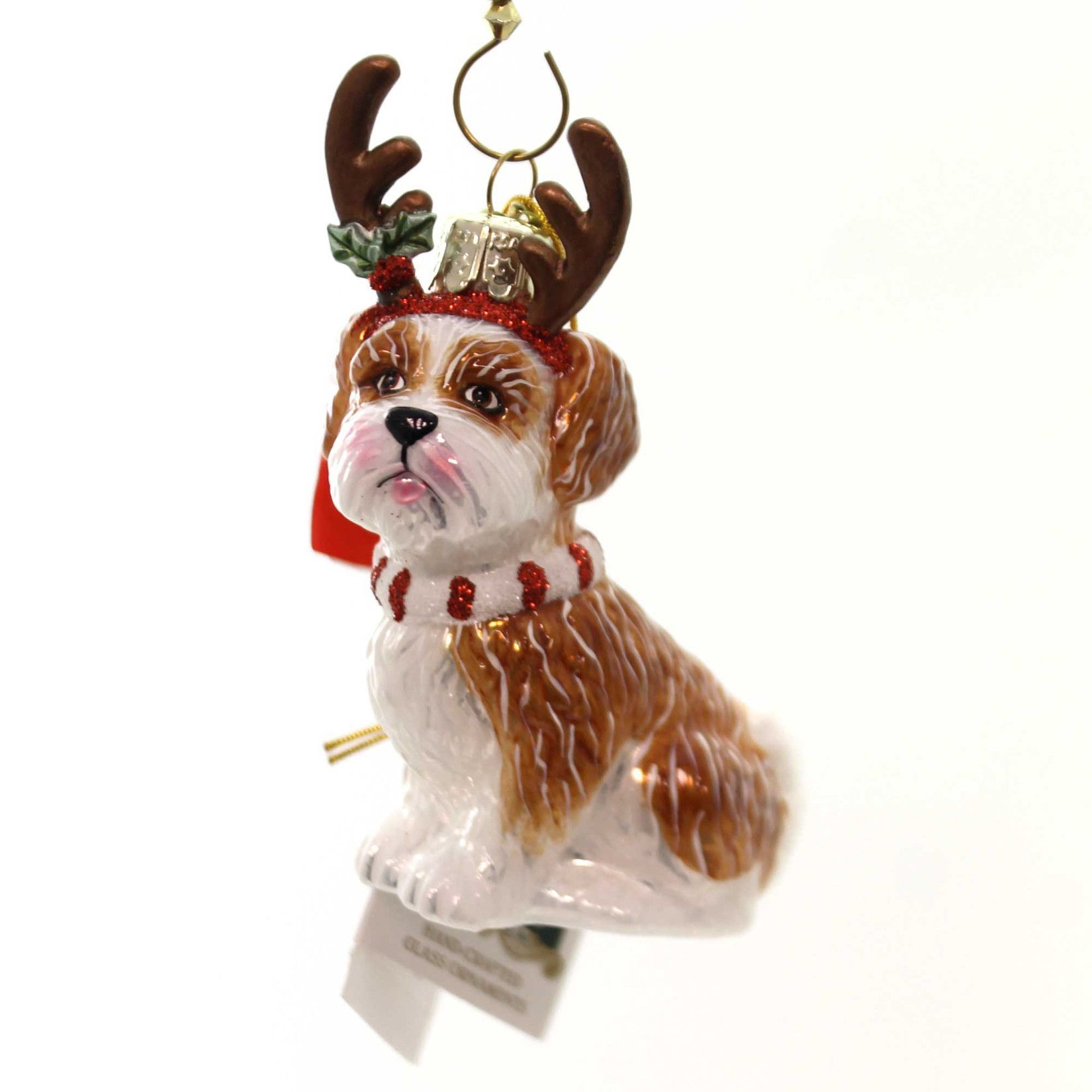 Holiday Ornaments Dog With Antlers Ornament Glass Ornament ...