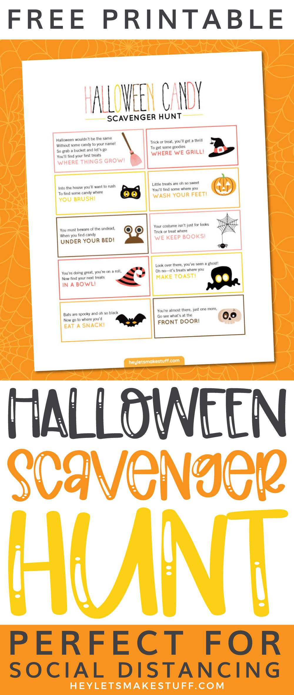 Free Printable Halloween Candy Scavenger Hunt in 2020