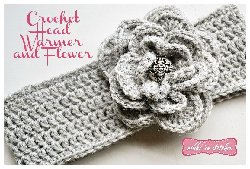 Crochet Flower Head Warmer Free Pattern by Nikki In Stitches | She\'s ...