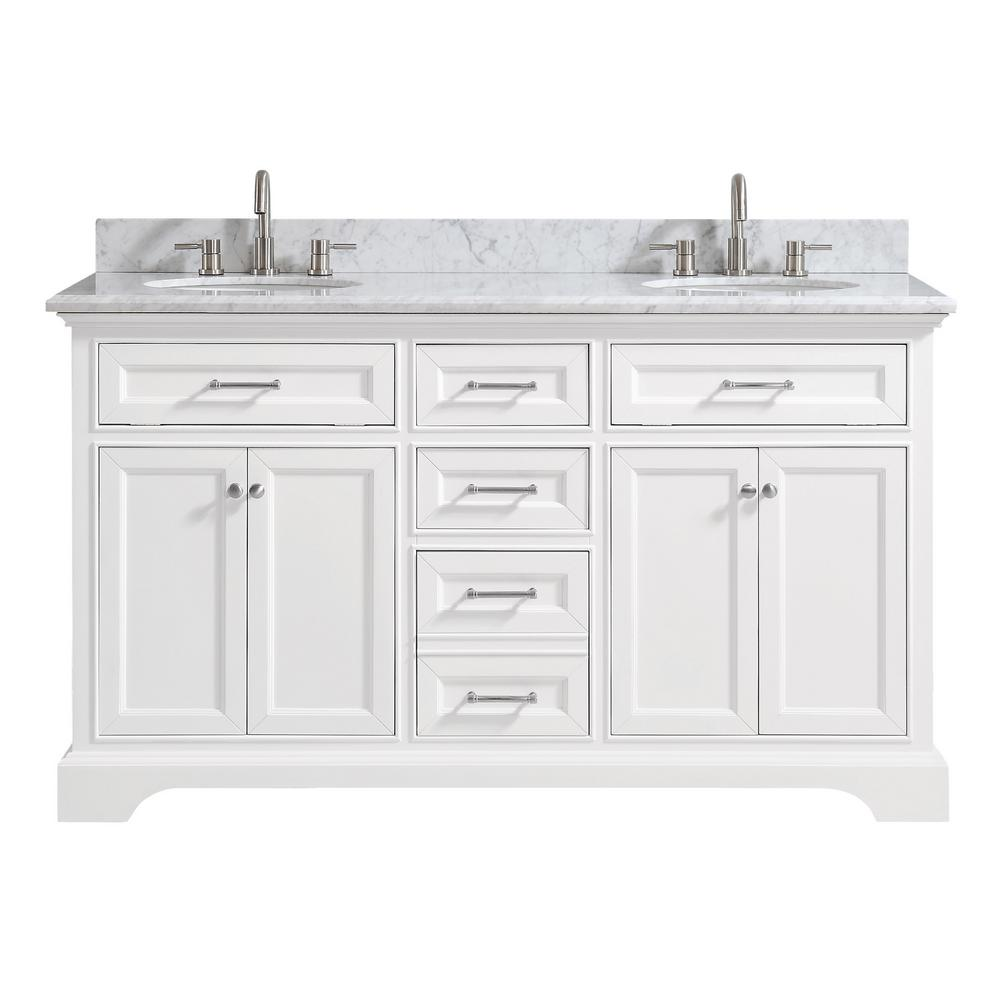 Home Decorators Collection Windlowe 61 In W X 22 In D X 35 In H Bath Vanity In White With Carrera Marble Vanity Top In White With White Sink 15101 Vs61c Wt Marble Vanity