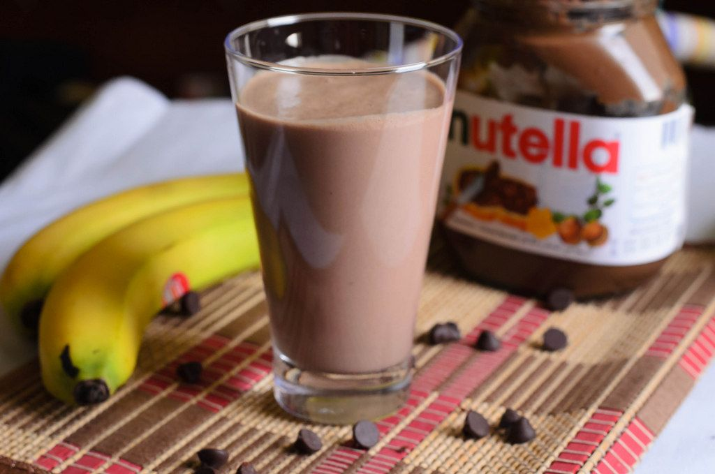 Banana Nutella Smoothie -- I made this, and the banana doesn't have to be frozen, it tastes good fresh and sliced