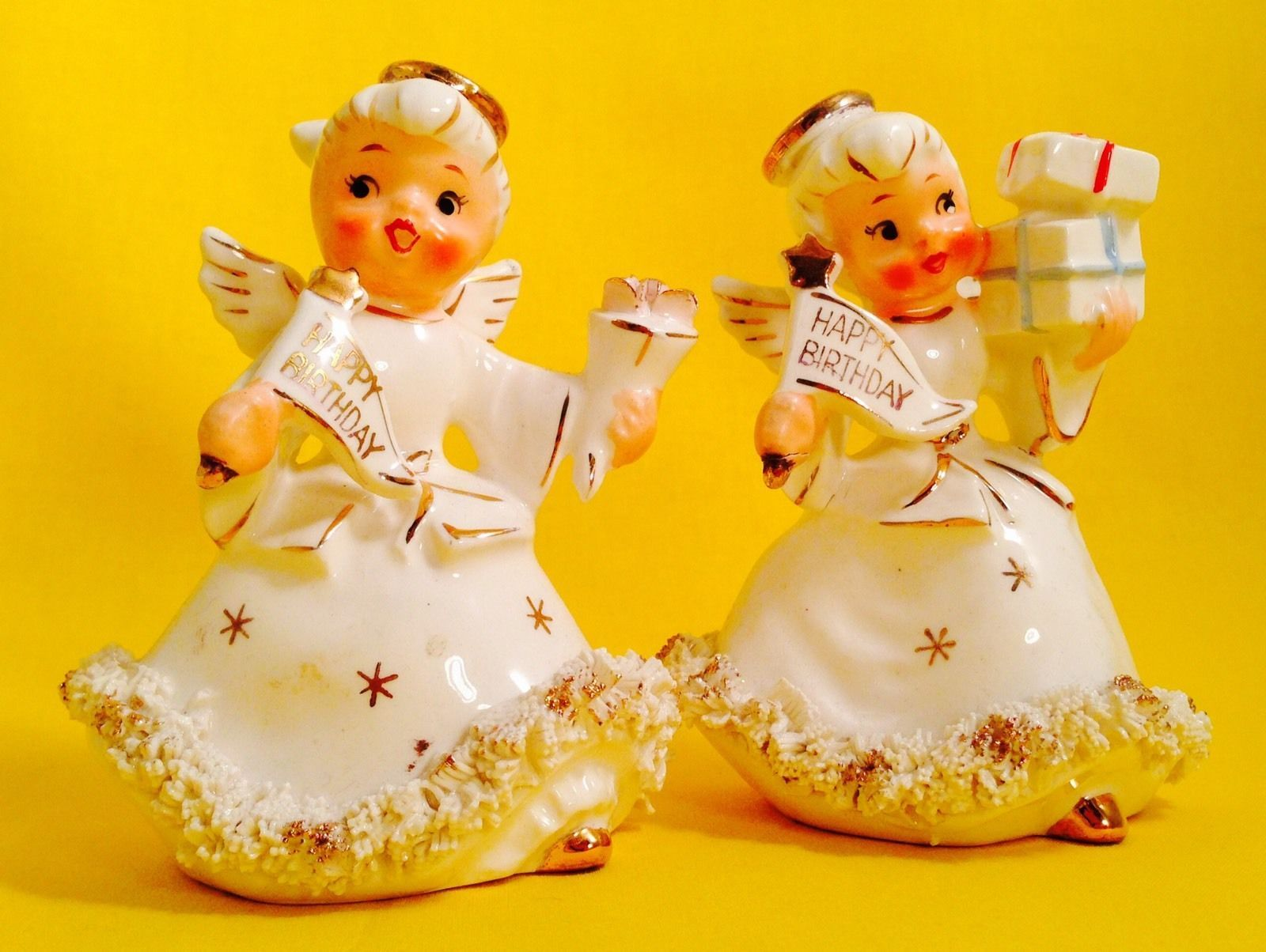Happy birthday holt howard girl vintage figurine candle holders