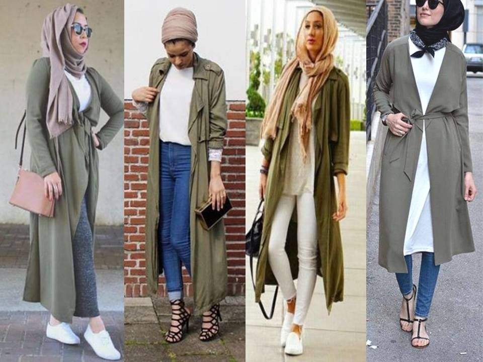 Olive vests and cardigans hijab look muslim women hijab trends Fashion style and mode facebook