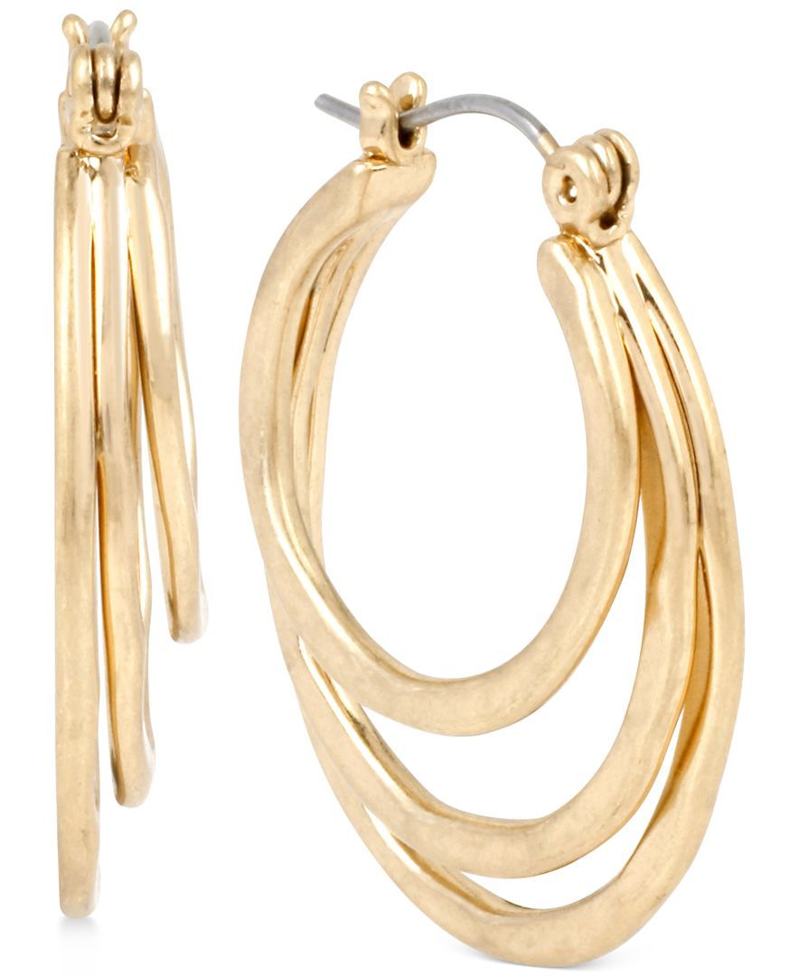 Robert Lee Morris Soho Gold-Tone Triple Hoop Earrings