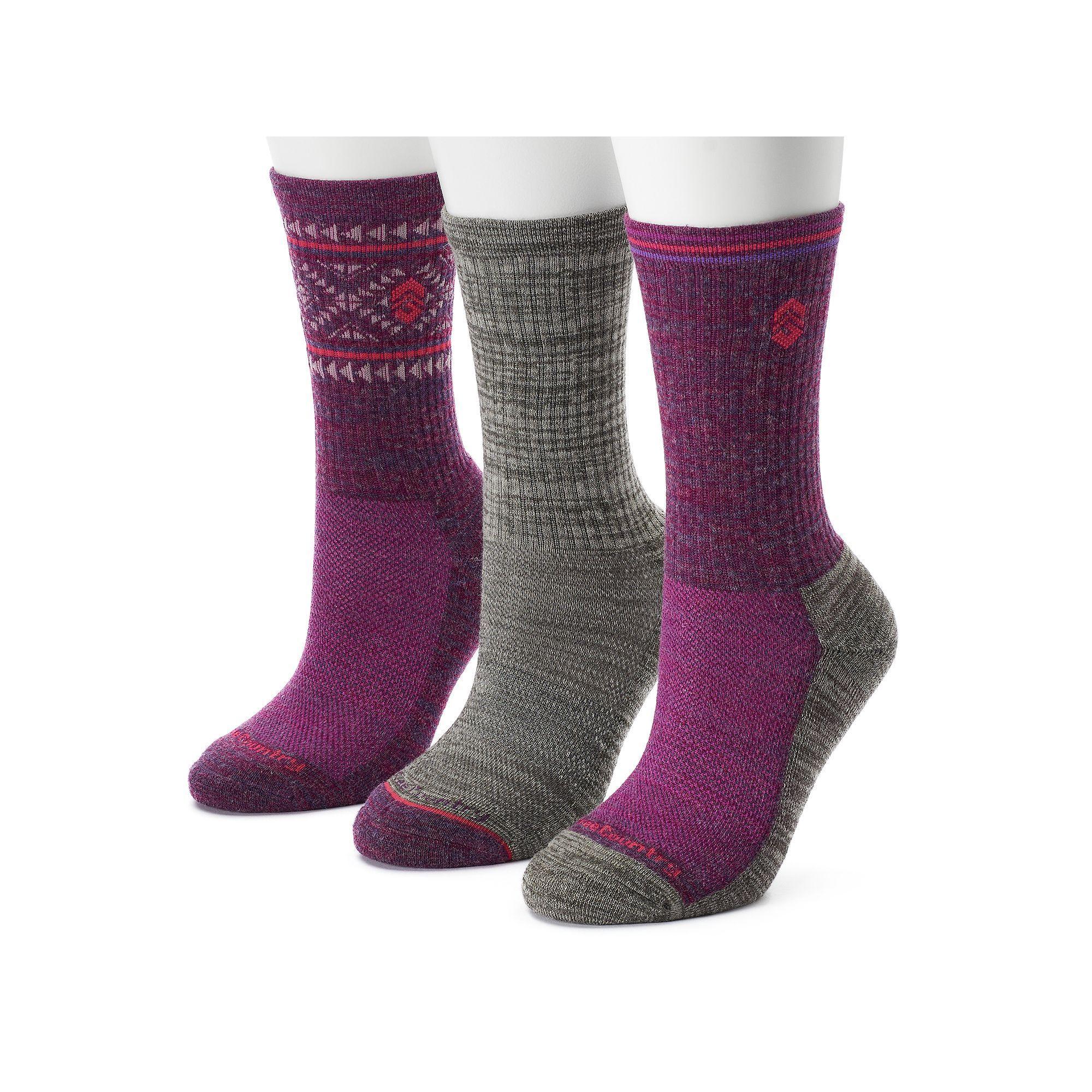 Women's Free Country 3-pk. Tribal Marled Wool-Blend Hiking Socks, Size: 9-11, Purple