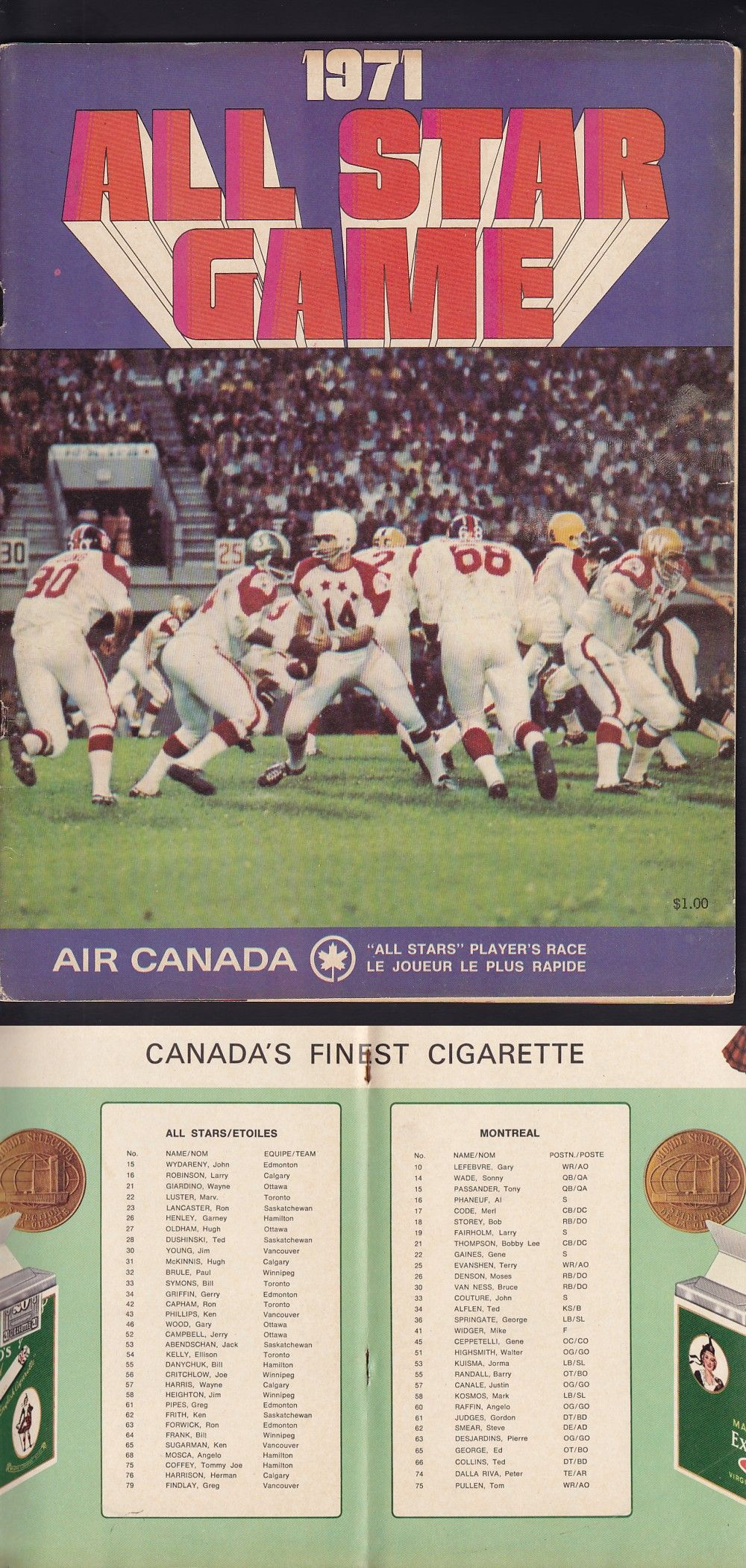 1971 CFL ALLSTAR GAME PROGRAM photo in 2020 Canadian