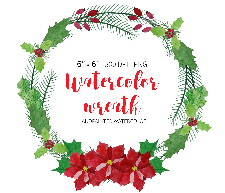 Watercolor Wreath Clipart Poinsettia Wreath Christmas Wreath