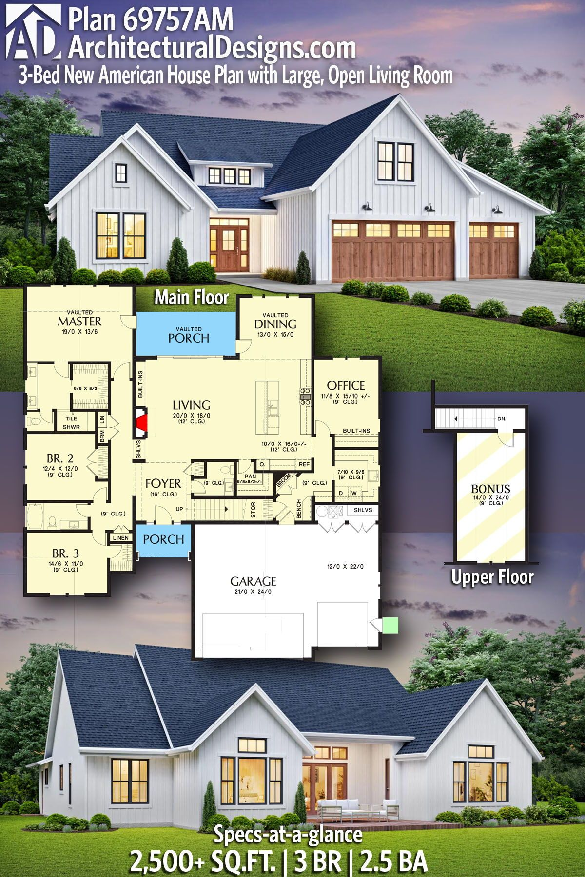 Plan 69757am 3 Bed New American House Plan With Large Open Living Room In 2020 Beach House Plans American Houses House Plans