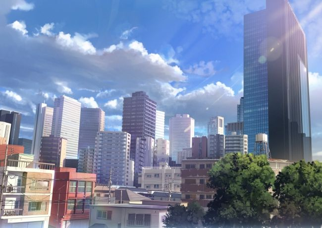 2000x1414 - anime cityscape, buildings, scenic, clouds ...