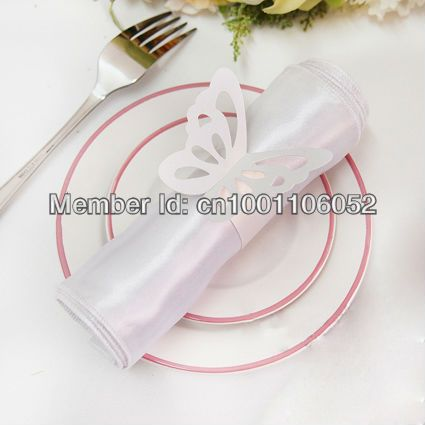 Free Shipping-50pcs High Quality White Paper Butterfly Napkin Rings